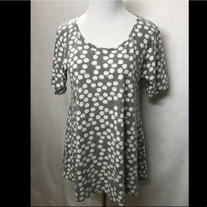 LuLaRoe Gray White Polka Dots Perfect T Rare!